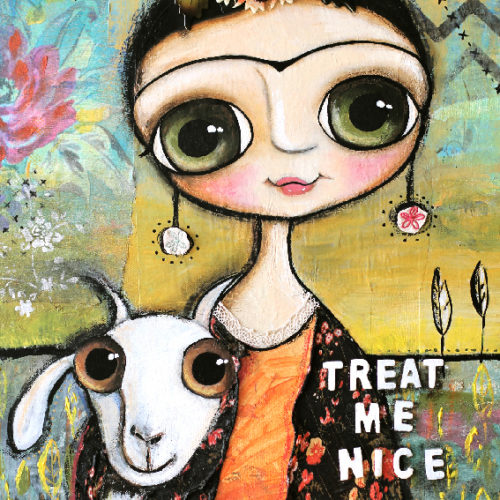 Frida Kalo and the white goat, art by Margherita Arrighi