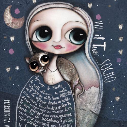 La bambina e la gatta tartarugata ti invitano a sognare sotto le stelle