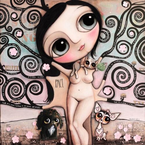 Klimt Albero della Vita, il gatto, il barboncino nero ed il jeck russel o chihuahua