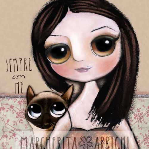 Little child with black hair and the siamese cat, big eyes portrait by Margherita Arrighi