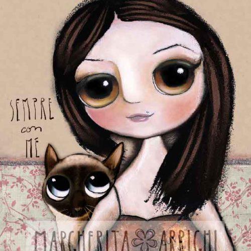 La bambina ed il gatto siamese