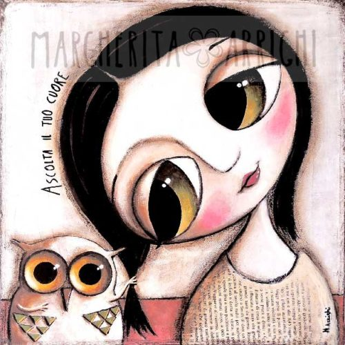 Art Work Little Child Big Eyes and Owl, Listen to your Heart