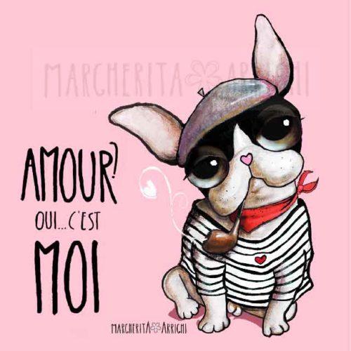 Il bulldog francese marinaio con la pipa in bocca