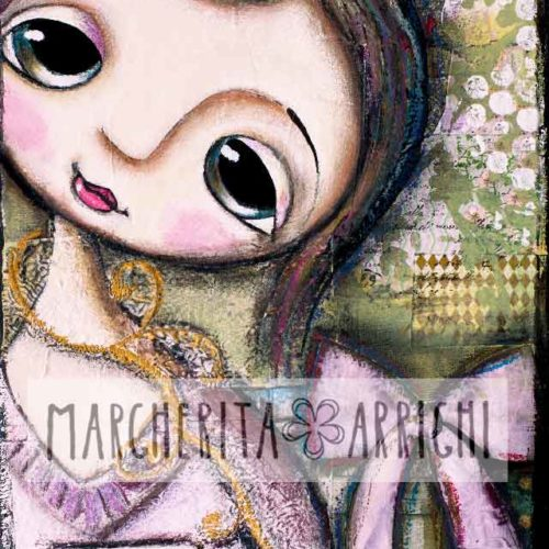 Little child big eyes and brown hair, art by Margherita Arrighi