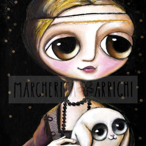 lady with the ermine, big eyes art by Margherita Arrighi