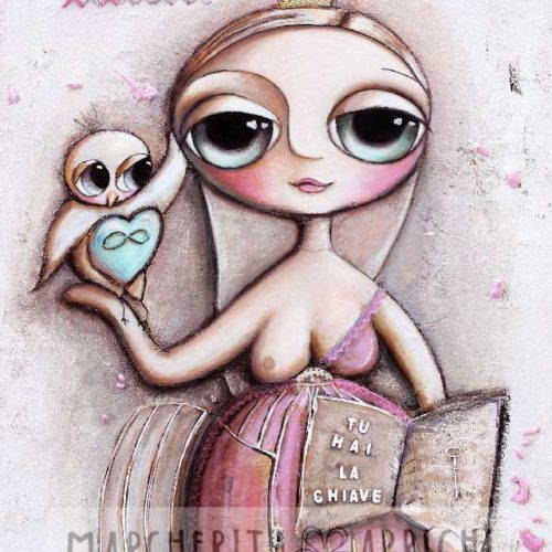 Little child big eyes and the bird with the key of freedom