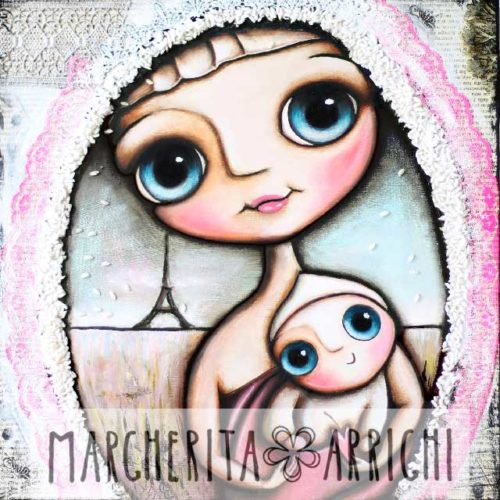 Madonna and child with big eyes, Maternity by Margherita Arrighi