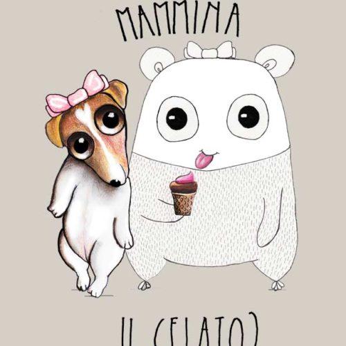 Jack Russel e l'orso Paffy con il gelato