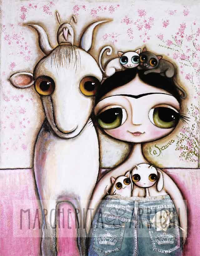 La mia Frida Kahlo contadina ha i jeans ed accanto a lei c'è una capra bianca, due gatti, un topo e l'agnello dentro ai pantaloni. Non dimentichiamo il coniglio tra le corna della capretta...!