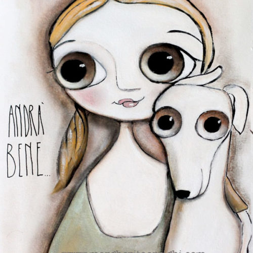 Little Child big eyes and the white dog