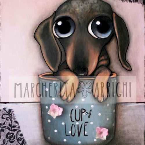 So cute Dachshund inside the Cup, big eyes art by Margherita Arrighi
