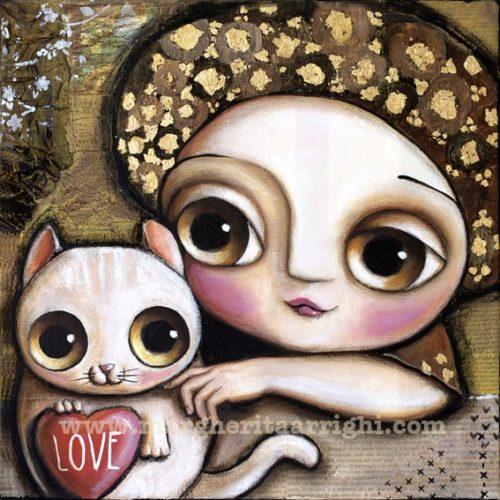 La bambina con turbante ed il gattino dell'Amore