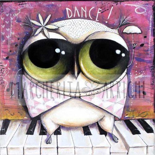 Il Gufo con occhi grandi danza sul pianoforte, arte Margherita Arrighi