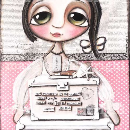 The Doll goes to school, big eyes art by Margherita Arrighi