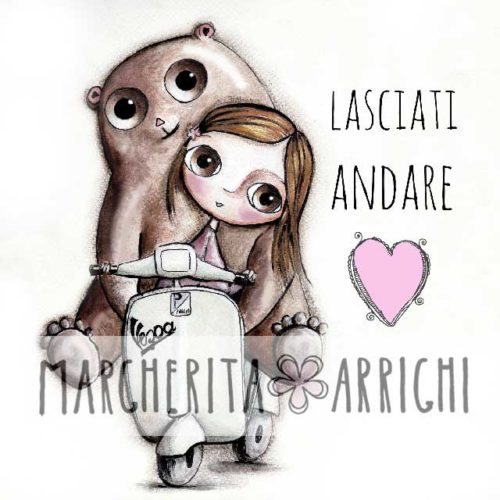 The doll and the bear with big eyes on Vespa, art Margherita Arrighi