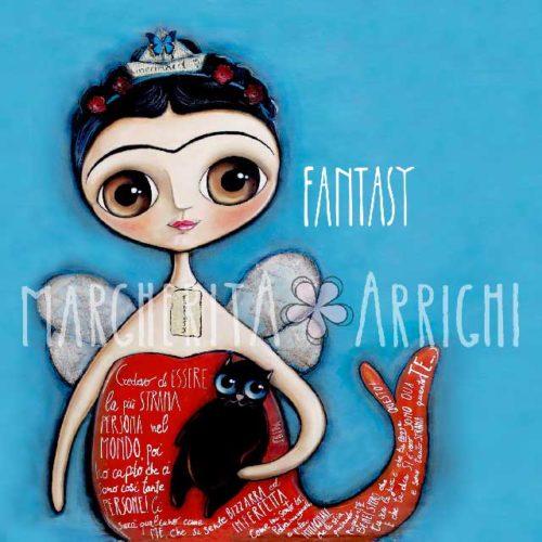 Frida Kahlo mermaid with black cat