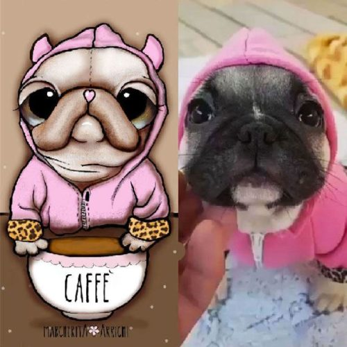 French Bulldog with pink hoodie and coffee mug, by Margherita Arrighi