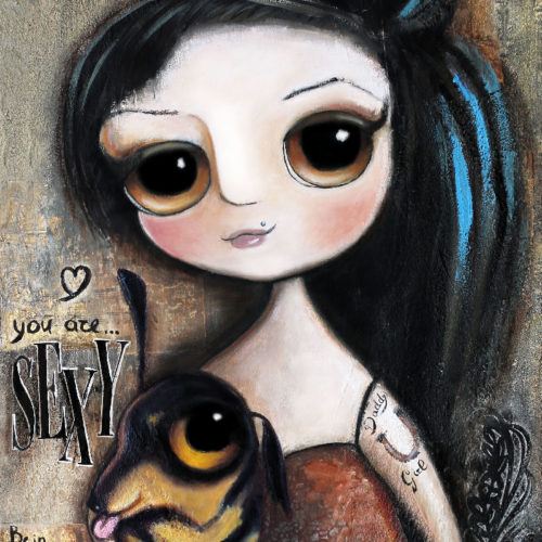 Amy Winehouse and the dachshund, big eyes art by Margherita Arrighi